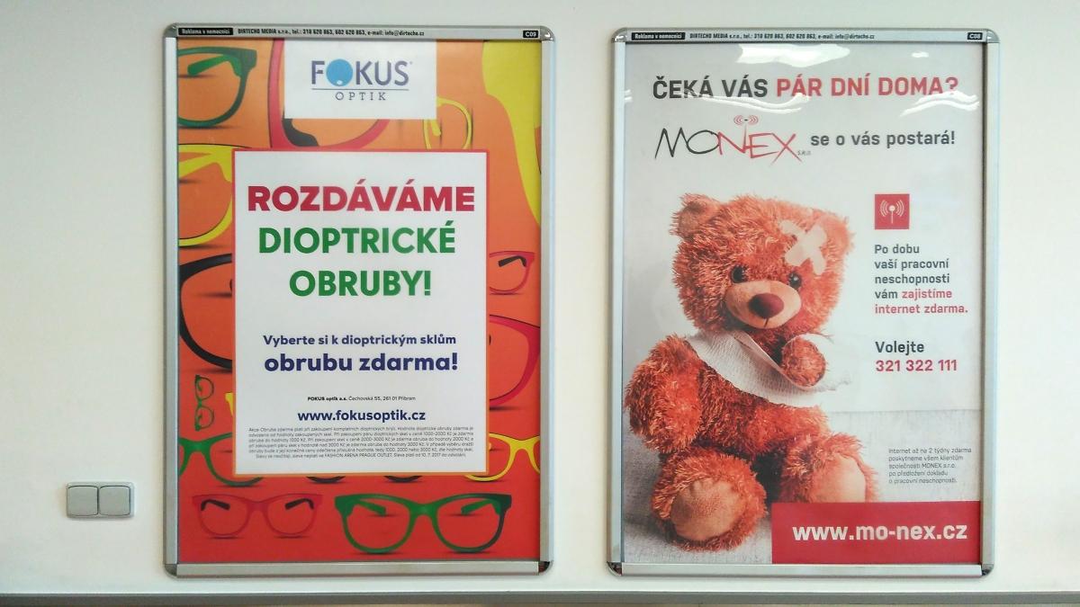 Fokus optik, Monex - Reklama v nemocnici