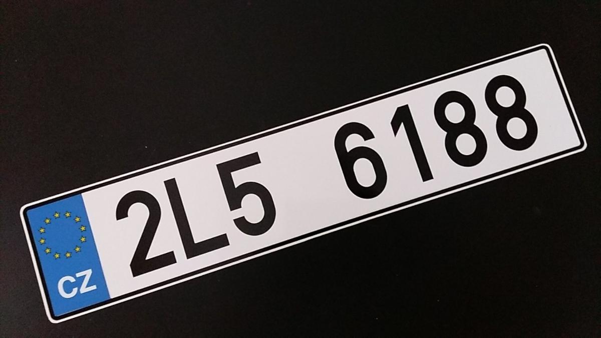 Náhradní RZ k osobnímu vozu.