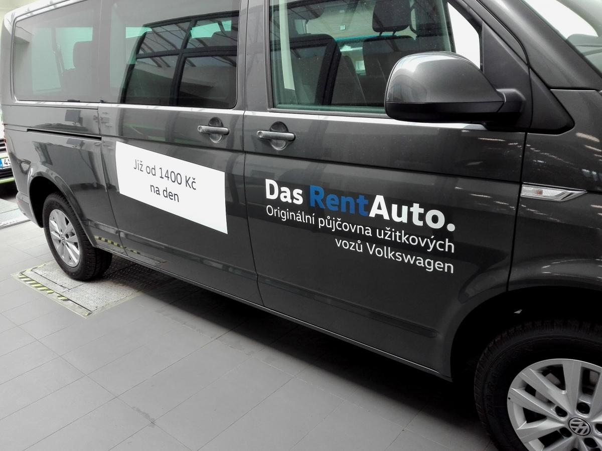 Auto Poly Příbram - Polepy vozů VW Das Rent Auto a předváděcího vozu Caddy