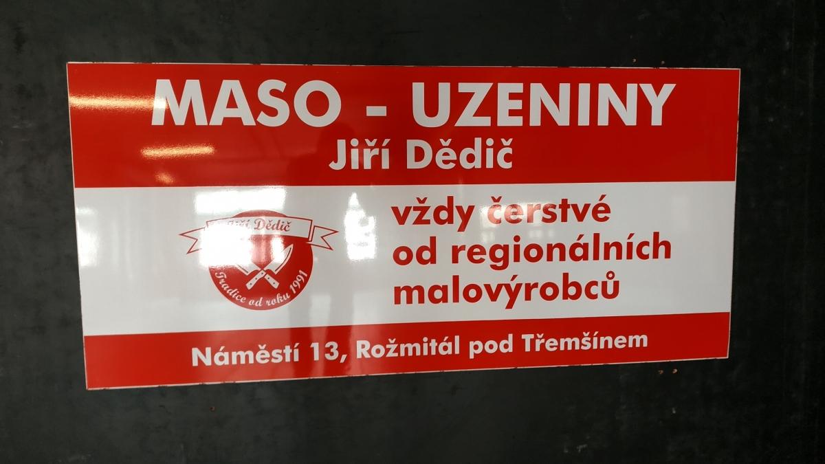 Maso - uzeniny  - Firemní cedule