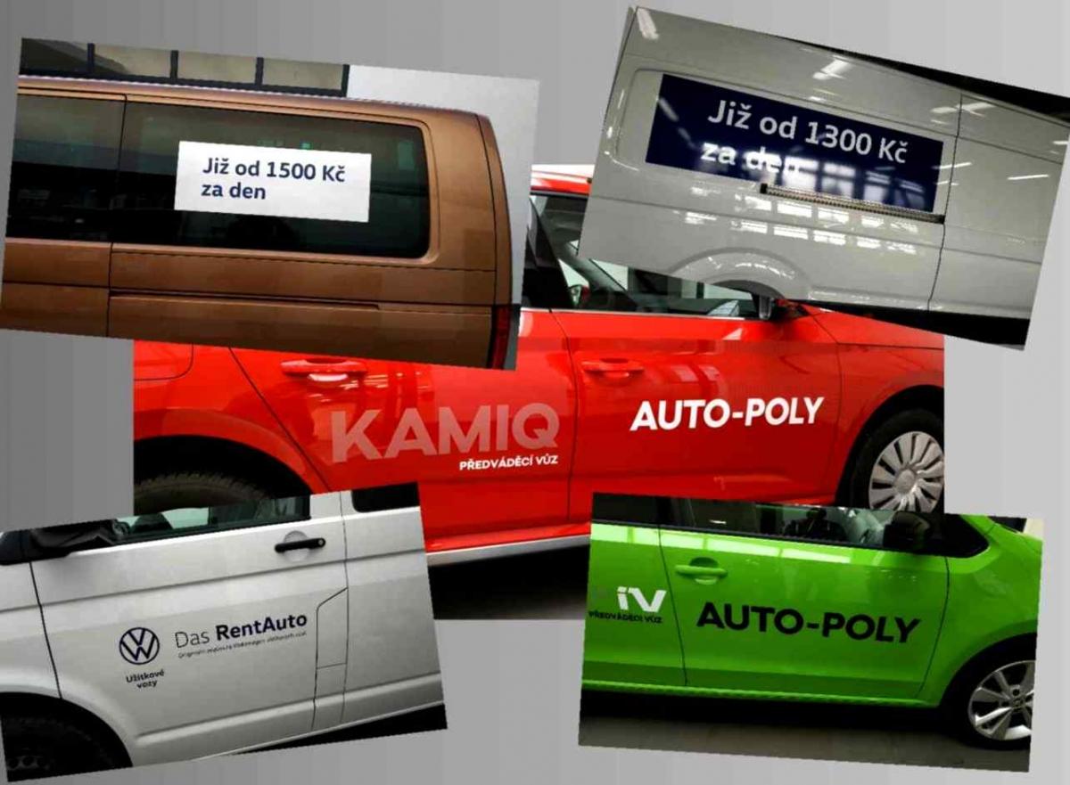 Auto Poly Příbram - Polepy vozů VW Das Rent Auto a předváděcích vozů Škoda