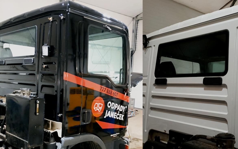 Odpady Janeček - Polep kabiny nákladního vozu