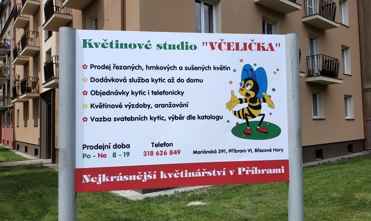 Květinové studio Včelička - Reklamní poutač