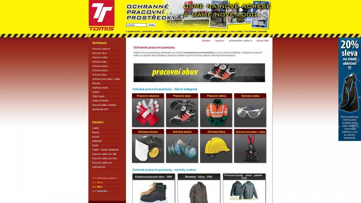 Webové stránky a e-shop - TomisCZ - pracovní oděvy ea9f9f821d