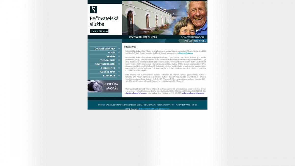 Pečovatelská služba Příbram - Webové stránky