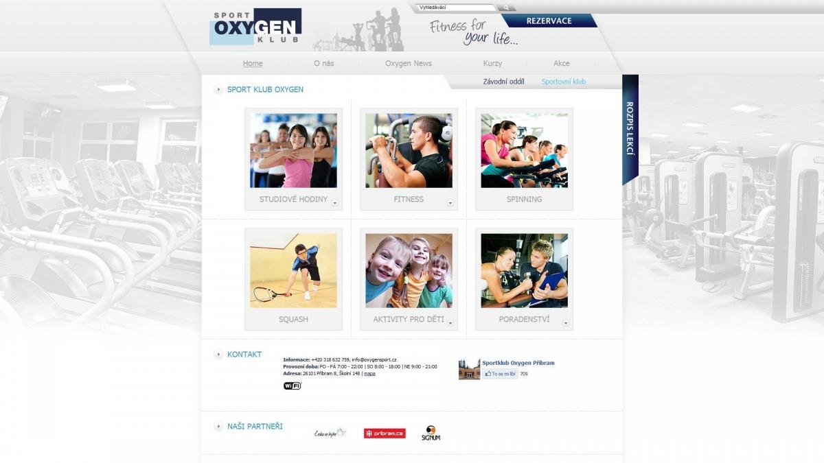 Sportklub Oxygen - Webové stránky