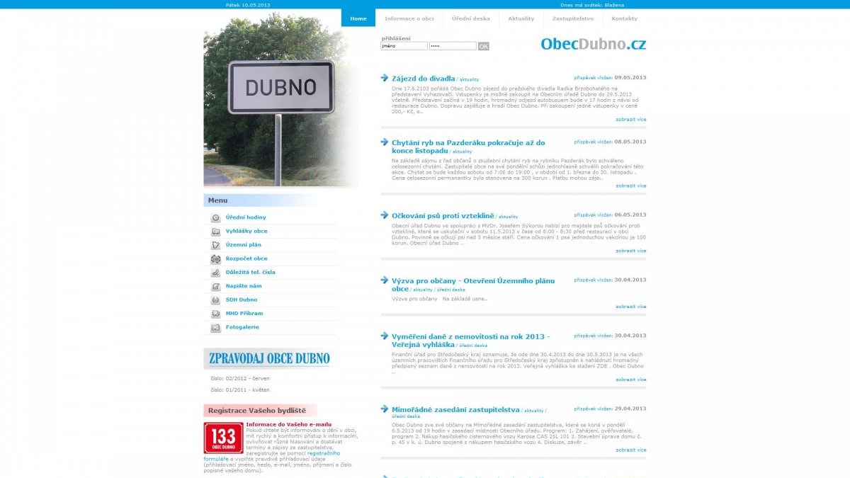 Obec Dubno - Webové stránky